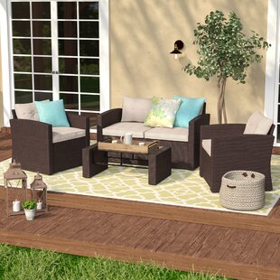 Rawtenstall 4 Piece Rattan Sofa Seating Group with Cushions