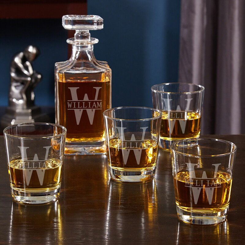 6c8c82a13af Kaity Engraved 5 Piece Whiskey Decanter Set