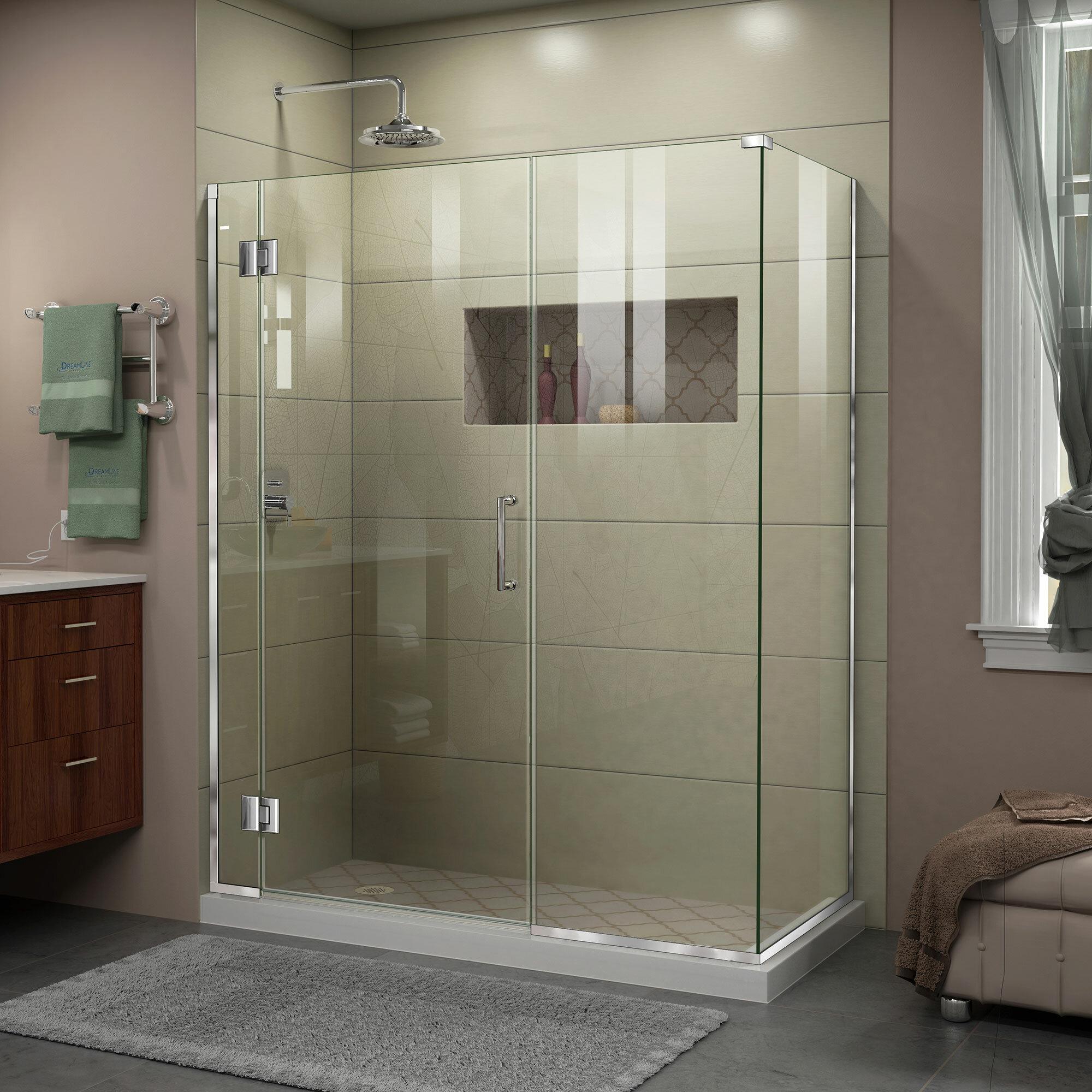 Unidoor X 52 5 X 72 Hinged Frameless Shower Door With Clearmax Technology