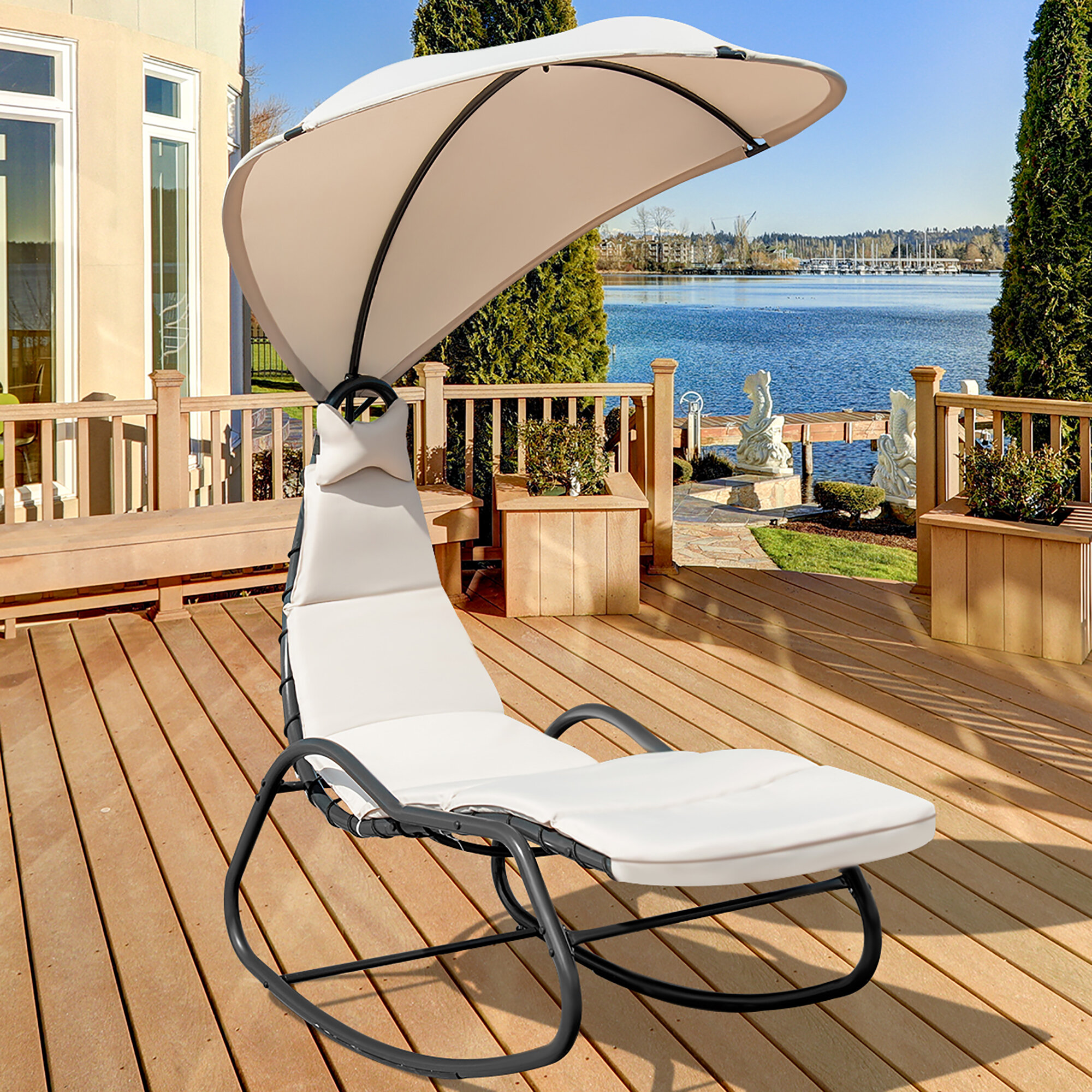 Arlmont Co Patio Hanging Chaise Lounge Chair Swing Hammock Canopy Thick Cushion Turquoise Reviews