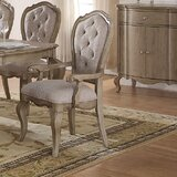 Chelmsford Upholstered King Louis Back Arm Chair in Antique Taupe/Beige (Set of 2) by A&J Homes Studio