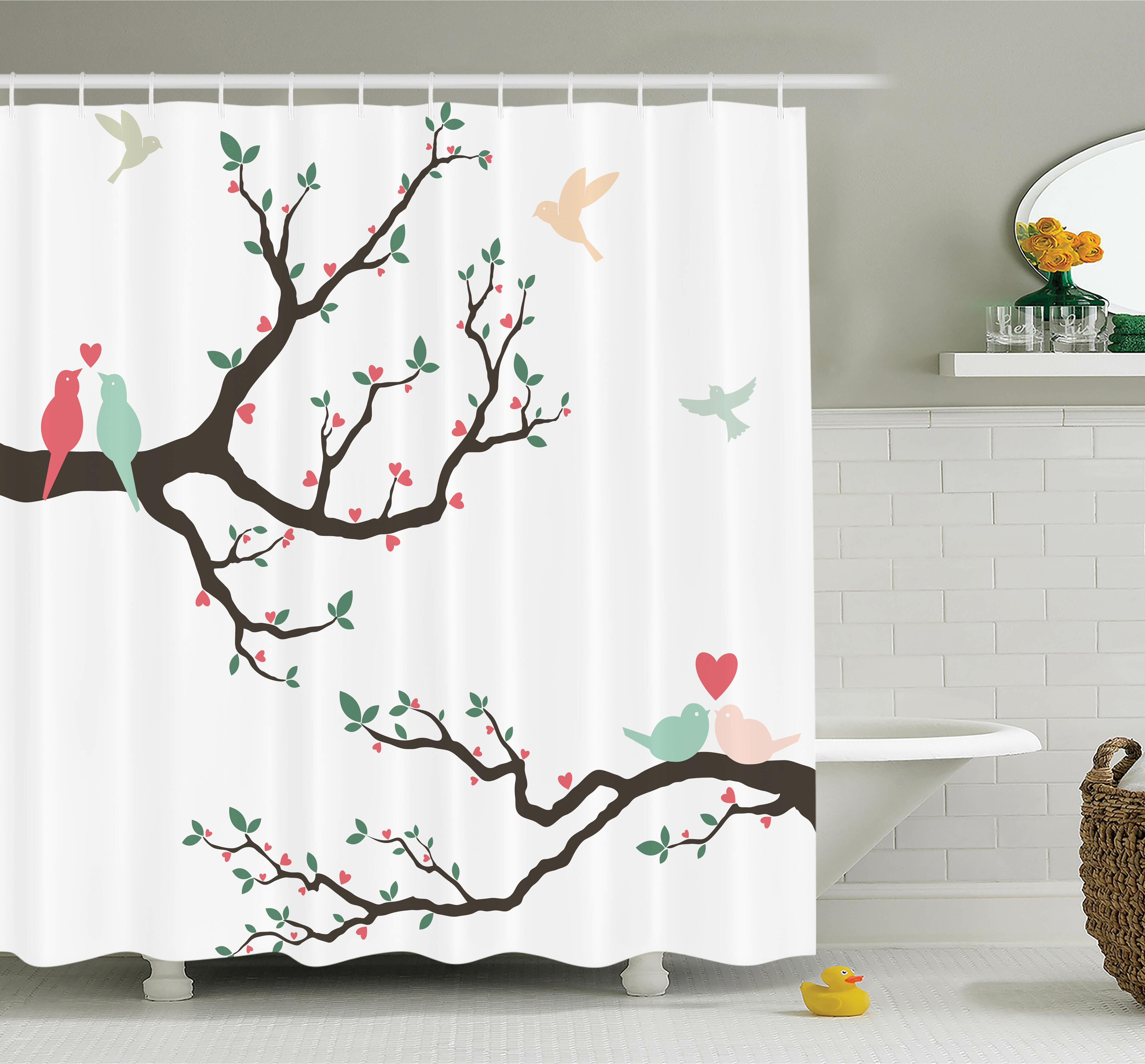 Ambesonne Love Retro Birds On Branch Art Shower Curtain Set