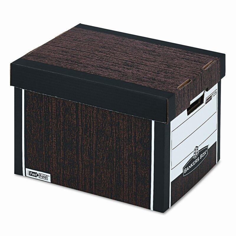 4 per Carton Woodgrain FEL0072506 Bankers Storage Box Letter Locking Lid