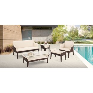 Segal 5 Piece Rattan Sofa Seating Group with Cushions