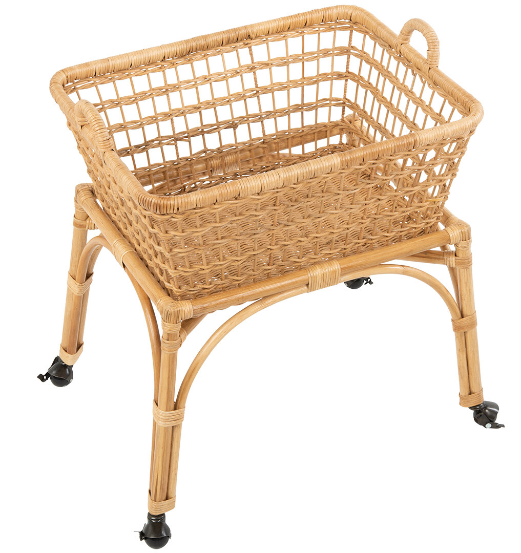 Kouboo Rectangular Rolling Wicker Laundry Basket Hamper With Cotton Liner And Stand