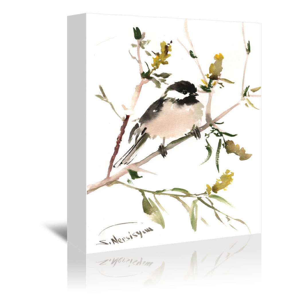 East Urban Home Chickadee 2 Painting Print On Gallery Wrapped Canvas Wayfair