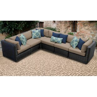 Mejia Wicker Patio Sectional with Cushions