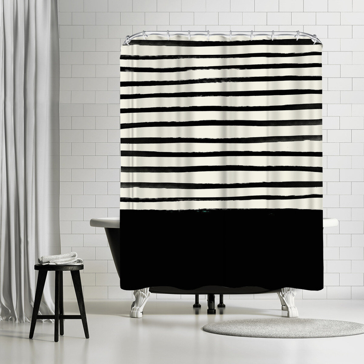 East Urban Home Leah Flores Black Single Shower Curtain Wayfair