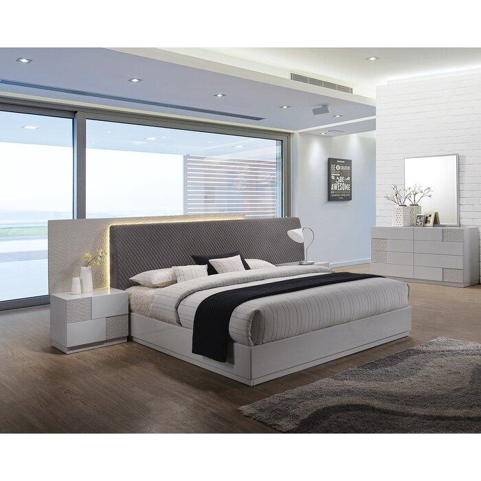 Lyset Platform Solid Wood 5 Piece Bedroom Set