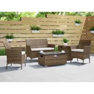 Osblek 4 Piece Rattan Sofa Seating Group with Cushions