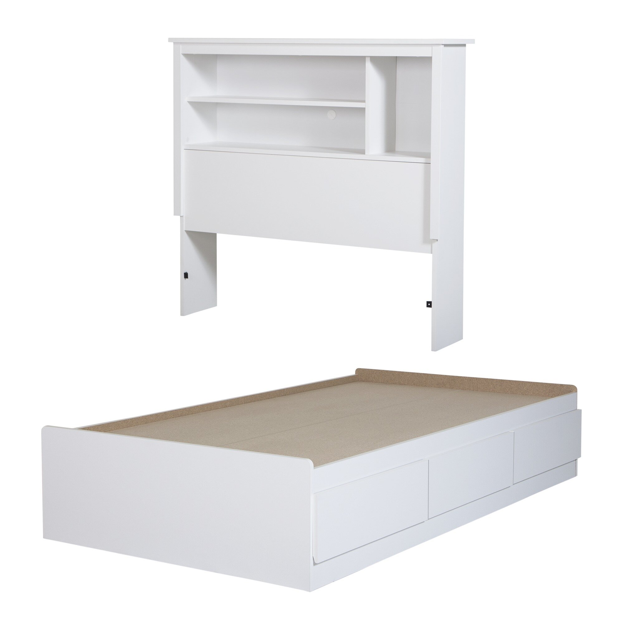 South S Vito Twin Mate Bed With Bookcase Headboard Reviews Wayfair