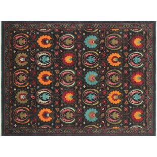 Top One-of-a-Kind Abrego Hand-Knotted Black Area Rug By Isabelline