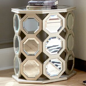 Montrose Mirrored Hexagon Wood Table by Rosd..