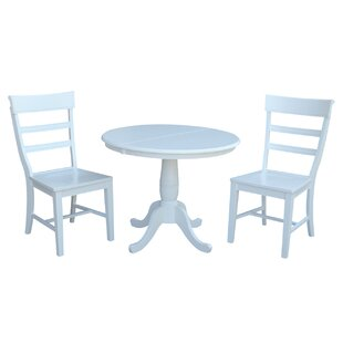 Petra Extendable Pedestal 3 Piece Solid Wood Bistro Set August Grove