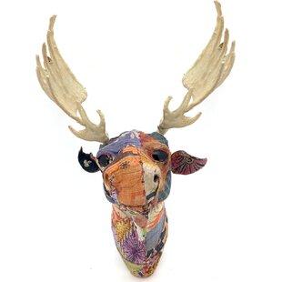 Vintage Sari Fabric Moose Head Wall Décor