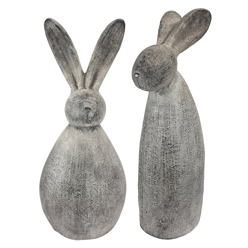 Design Toscano 2 Piece Big Burly Bunny Rabbit Statue Set   Wayfair on