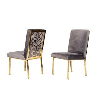 Fabric Upholstered Dining Chair With Metal Frame Set Of 2 Gray And Gold Set of 2