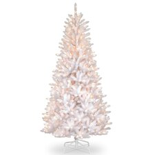 Slim Fir 7.5' Hinged White Iridescent Artificial Christmas Tree with 600 Clear Lights
