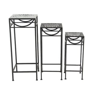Chino 3 Piece Modern Pierced Top Design Square Nesting Plant Stand Set
