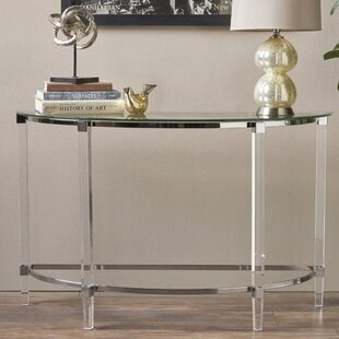 Review Lower Hounsley Glass Console Table By Orren Ellis