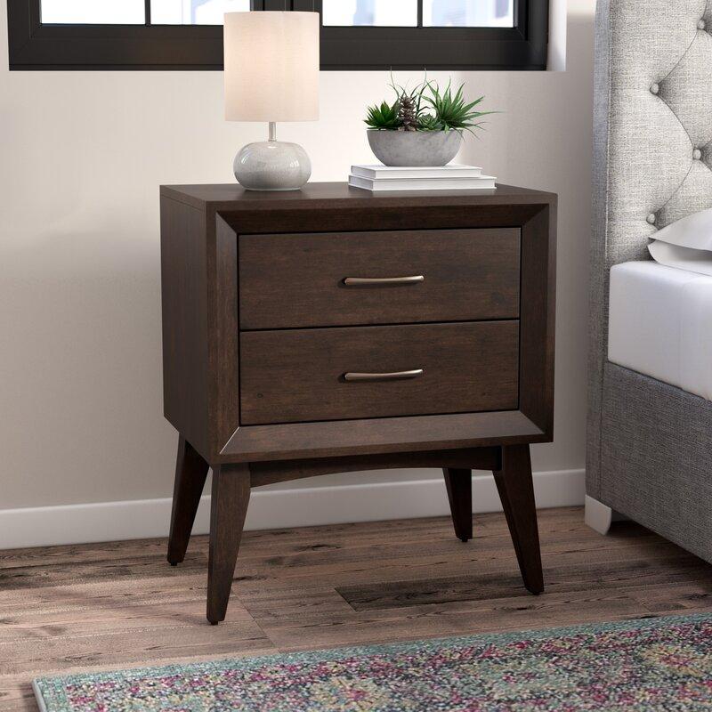 zeta 2 drawer nightstand & reviews | allmodern Nightstand