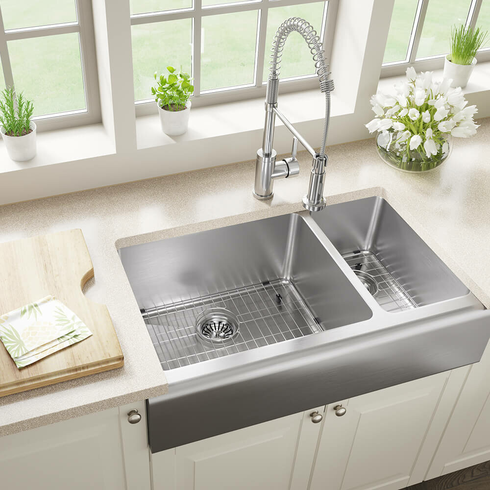 Mrdirect Stainless Steel 33 X 20 Double Basin Farmhouse Apron