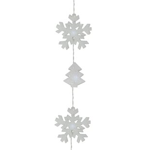 Battery Operated Led Snowflake And Tree Christmas 12 Light String Lighting