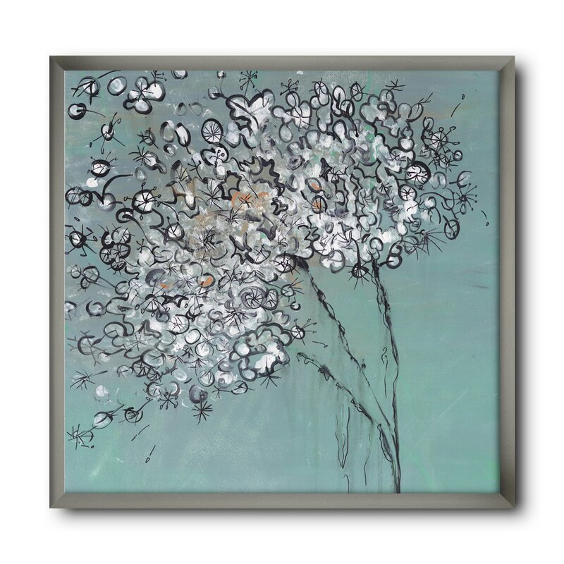 East Urban Home Teal Blossoming Dandelion Picture Frame Print On Canvas Wayfair