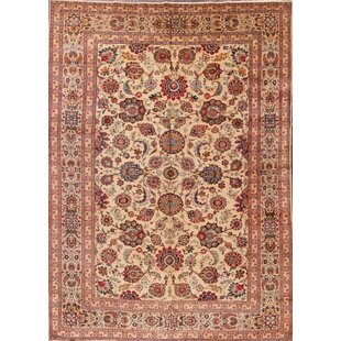 One-of-a-Kind Glasper Kashan Traditional Shah Abbasi Persian Hand-Knotted 8'8 x 12'2 Wool Beige/Brown Area Rug ByIsabelline