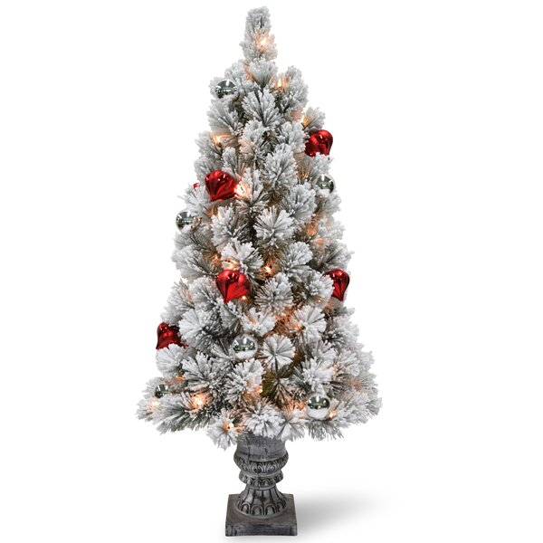 astoria grand snowy bristle tabletop 3 green pine artificial christmas tree with 50 clearwhite lights with red and silver ornaments urn and timer - Christmas Tree With White Lights And Red Decorations