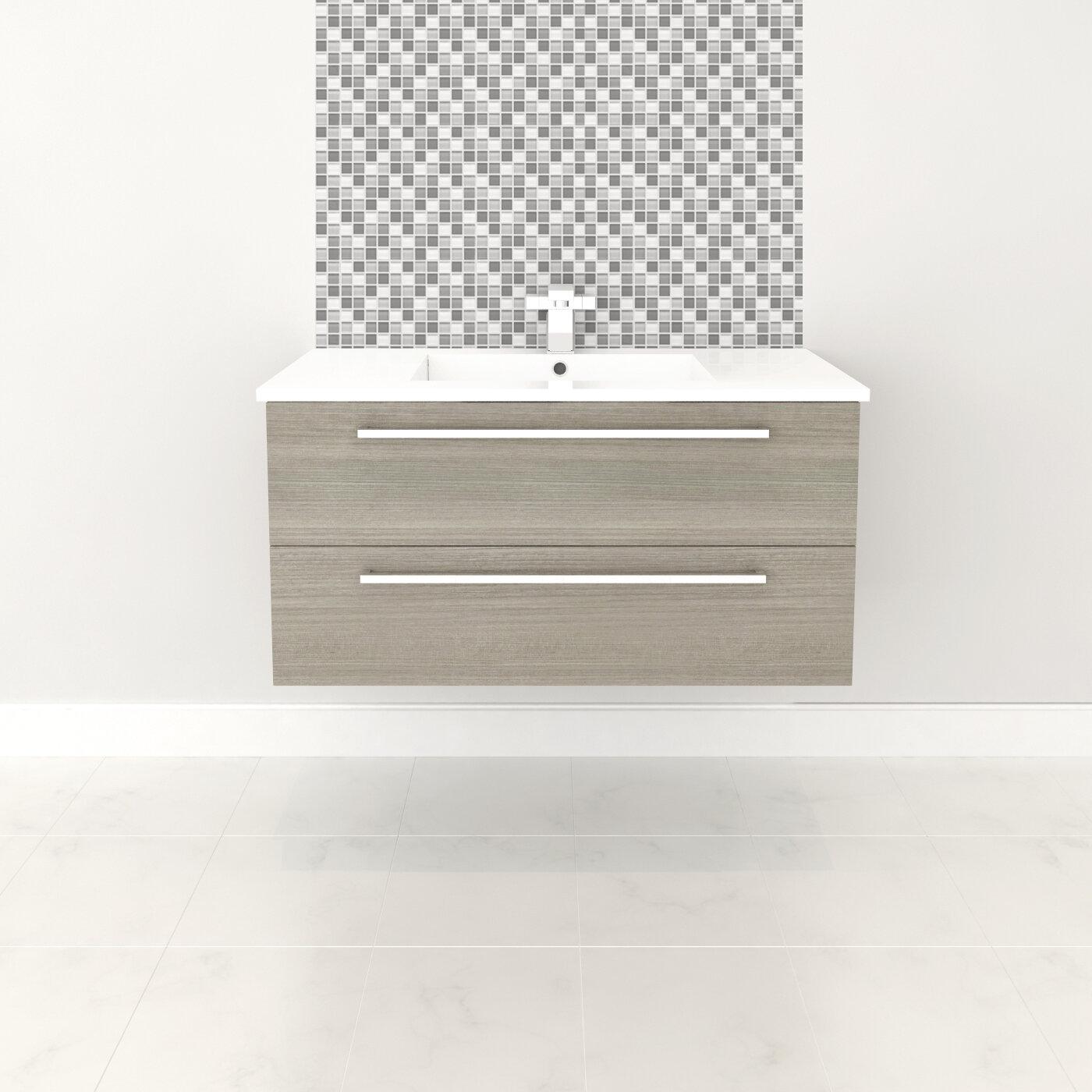 Orren Ellis Mcpeak 36 Wall Mounted Single Bathroom Vanity Set Reviews Wayfair