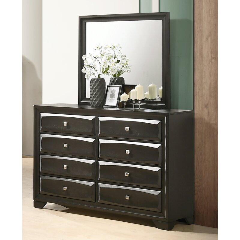 Winston Porter Beagan Wood 8 Drawer Double Dresser With Mirror Wayfair