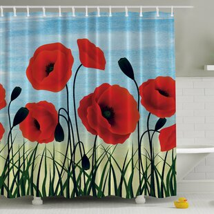 Poppies Underneath the Sky Print Single Shower Curtain