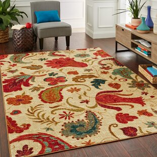Affordable Virginia Beige/Red Area Rug By Andover Mills