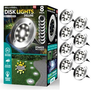 Silver Solar Powered Integrated LED Disk Light Pack (Set of 8)