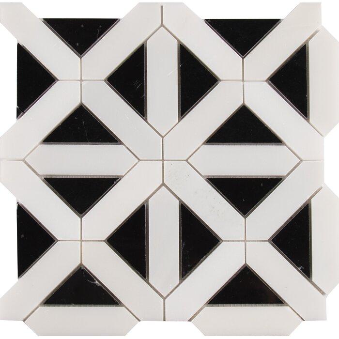 Retro Fretwork Random Sized Marble Mosaic Tile