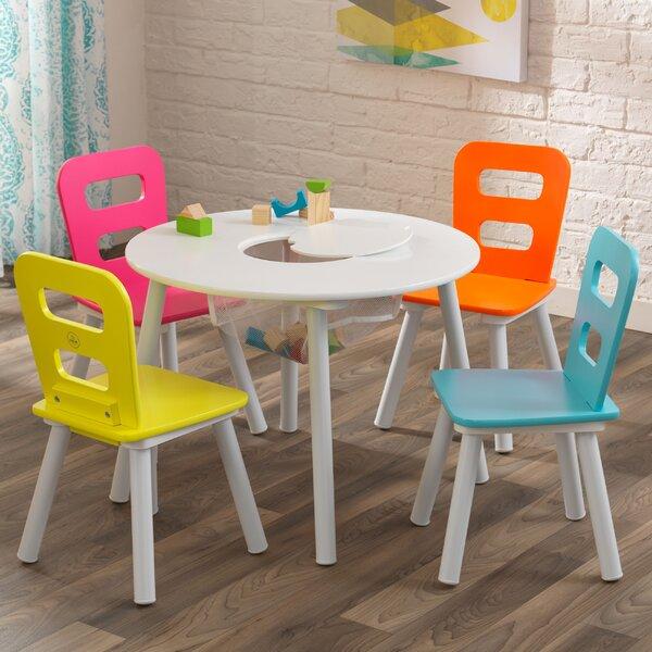 kidkraft storage kids 39 5 piece table and chair set reviews wayfair. Black Bedroom Furniture Sets. Home Design Ideas