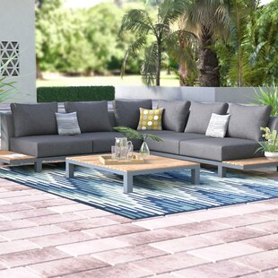 Corrine 4 Piece Teak Sectional Set with Sunbrella Cushions