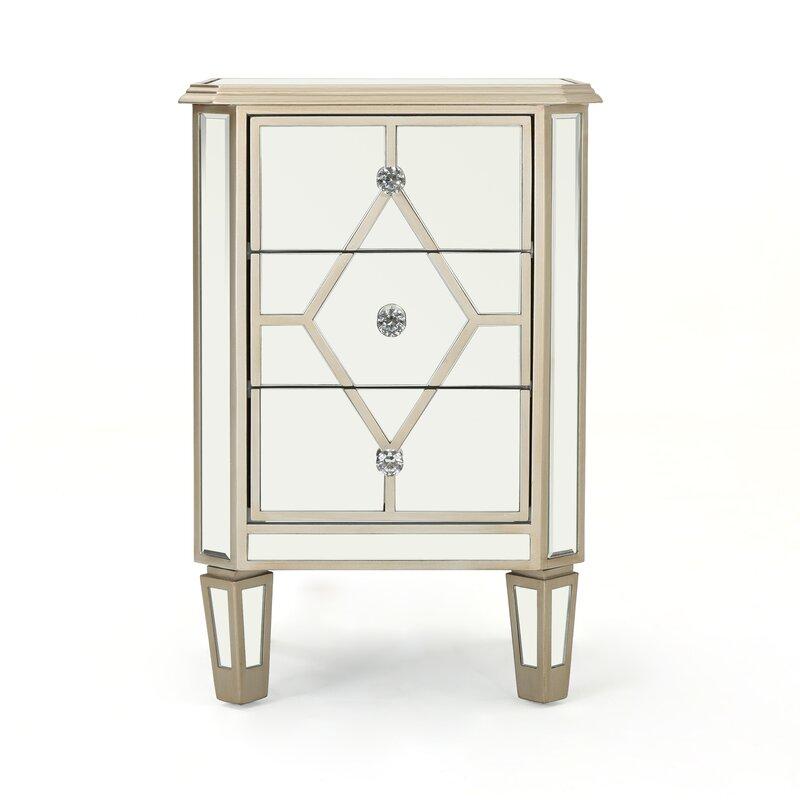 Thayer Mirrored 3 Drawer Cabinet