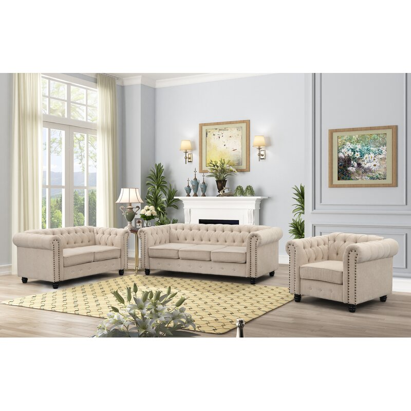 Canora Grey Lossett 3 Piece Standard Living Room Set Wayfair