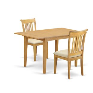 Balfor 3 Piece Extendable Breakfast Nook Solid Wood Dining Set