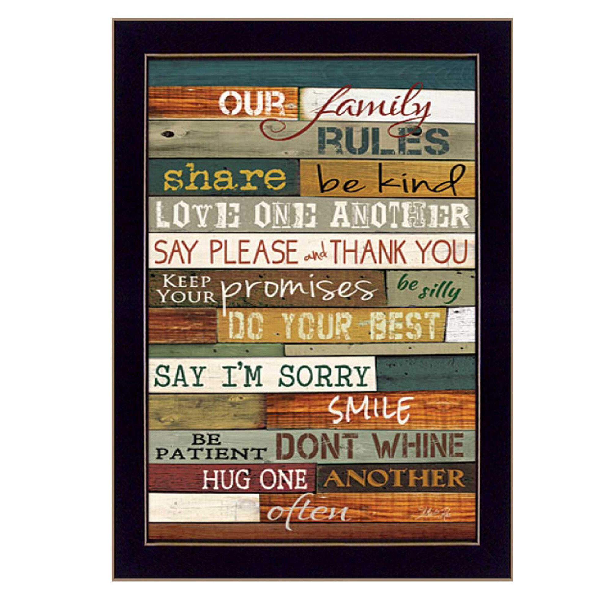 Trendy Decor 4u Our Family Rules Picture Frame Textual Art Print On Paper Reviews Wayfair