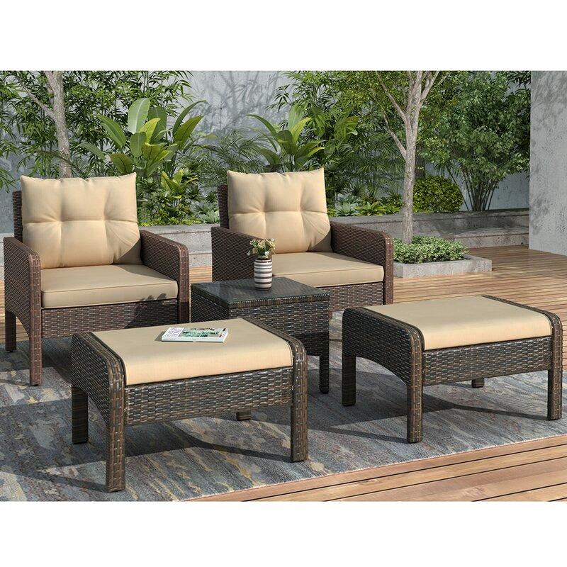 Latitude Run 5 Piece Rattan Seating Group With Cushions Wayfair