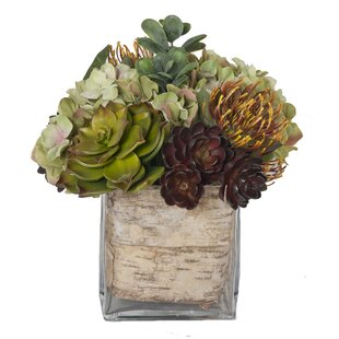 Faux Flowers with Succulents in Glass Vase