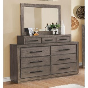 Mcmillen Weathered 9 Drawer Double Dresser with Mirror