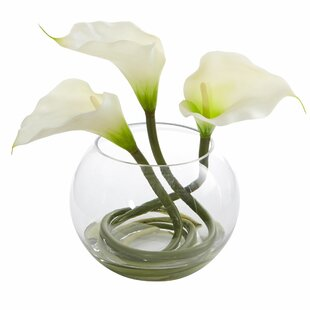 Calla Lily Artificial Floral Arrangement in Glass Vase