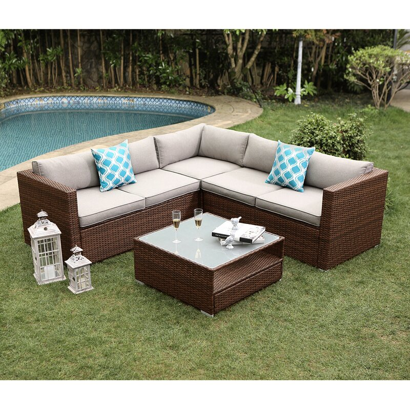 Wrought Studio Newagen 4-Piece Outdoor Furniture Set Mottlewood