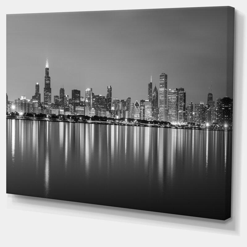 Latitude Run Cityscape Chicago Skyline At Night Black And