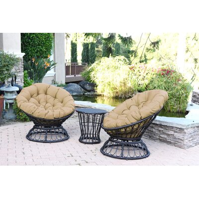 Barrigan 3 Piece 2 Person Seating Group with Cushions Fabric: Tan by World Menagerie
