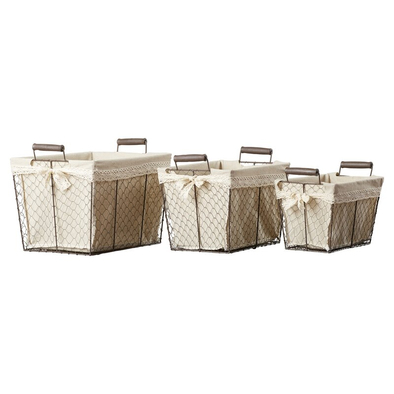 Incroyable 3 Piece Rectangular Lined Wire Storage Basket Set